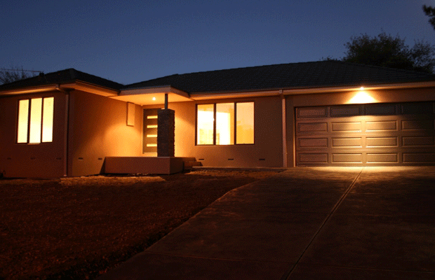 Exterior at night of a renovated home in ringwood