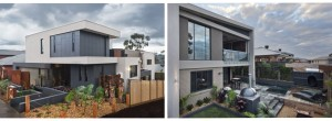 Front and back exterior of sloping block new home